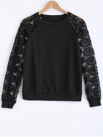 Fashion Lace Patchwork Hollow Out Sweatshirt