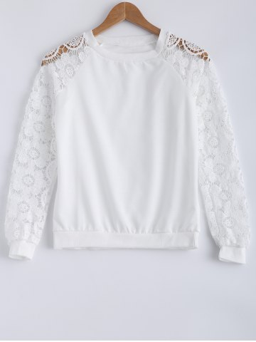 Trendy Lace Patchwork Hollow Out Sweatshirt WHITE XL
