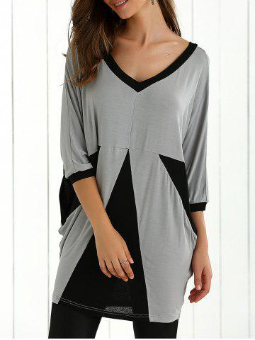 Fashion Color Block Batwing Sleeve Blouse BLACK AND GREY XL