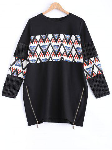 Fashion Geometric Print Zipper Design Sweatshirt