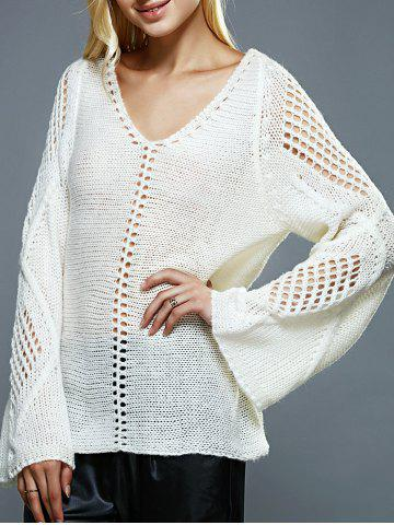 Sale Bell Sleeves Openwork Knitted Sweater OFF-WHITE ONE SIZE