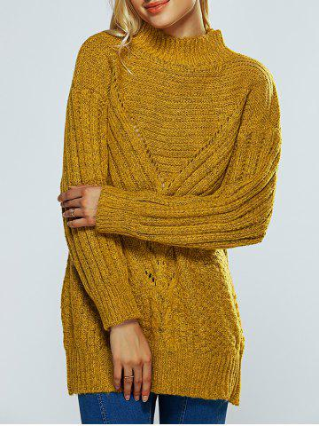 Chic Mock Neck Textured Heathered Sweater