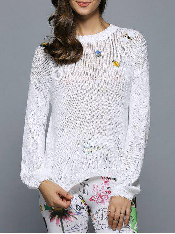 Latest Bell Sleeve Beaded Hollow Out Knitwear