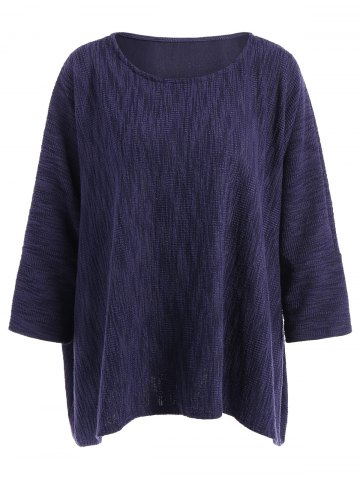 Shop Batwing Sleeve Loose-Fitting Texture Knitwear