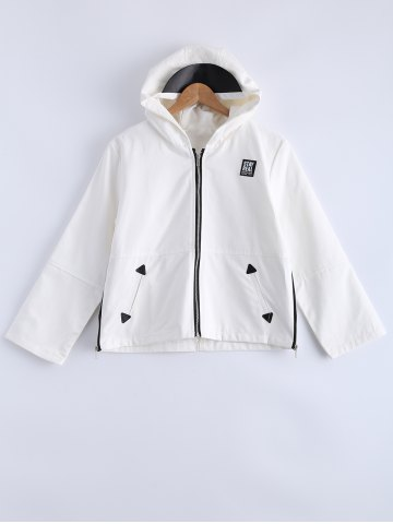 Fancy Hooded Zipper Patched Jacket