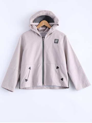New Hooded Zipper Patched Jacket