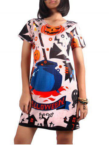 Fancy Cute Short Sleeve Pumpkin Print Dress MULTI XL
