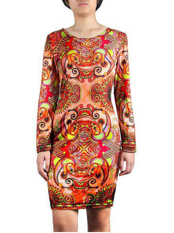 Outfit Jewel Collar Patterned Dress