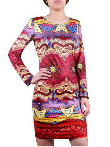 Hot Jewel Neck Patterned Dress