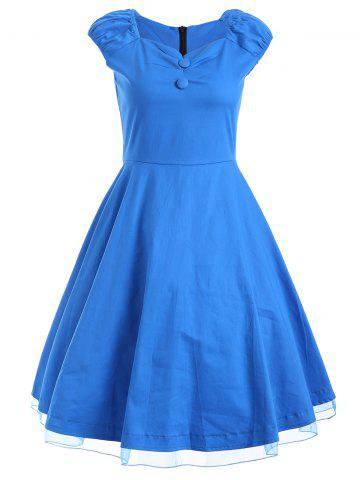 Shop Vintage Cap Sleeve Cocktail Buttoned Swing Dress