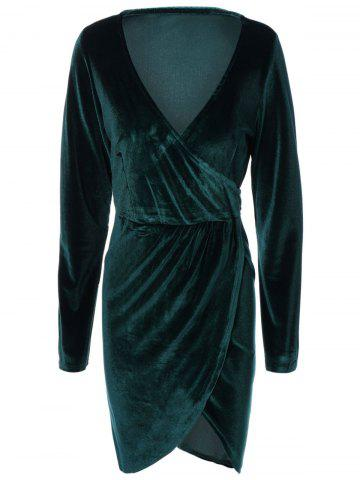 Fancy Plunging Neck Long Sleeve Surplice Dress