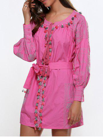 Buy Scoop Neck Embroidery Fringed Dress