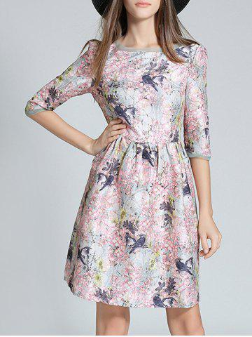 Buy Floral Print Texture High Waist Dress
