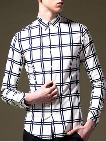 Online Plaid Pattern Long Sleeve Button-Down Shirt