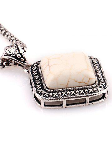 Outfits Faux Rammel Geometric Pendant Sweater Chain - WHITE  Mobile