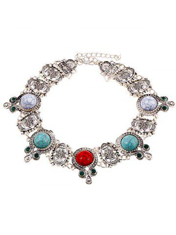 New Faux Rammel Embossed Floral Choker Necklace