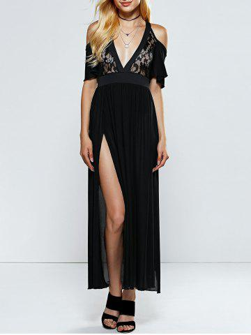 Affordable Plunging Neck Lace Slit Club Dress BLACK L