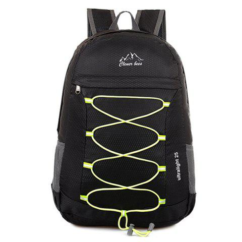 Fashion Zippers Nylon Cross Straps Backpack - BLACK  Mobile