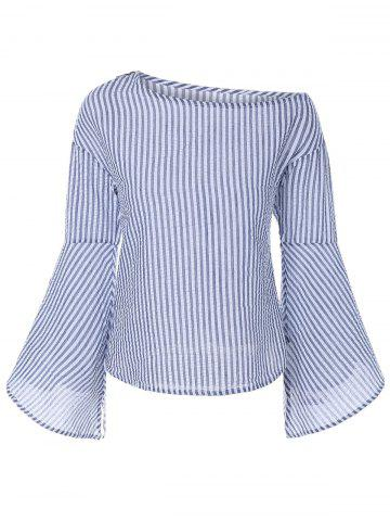 Discount Asymmetrical Bell Sleeve Striped Blouse