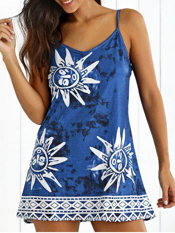 Fashion Tribal Print Tie-Dyed Summer Dress CADETBLUE L