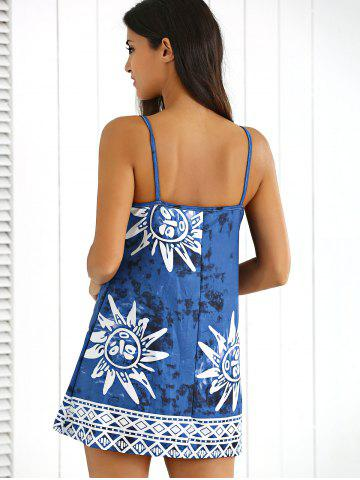 Store Tribal Print Tie-Dyed Summer Dress - L CADETBLUE Mobile