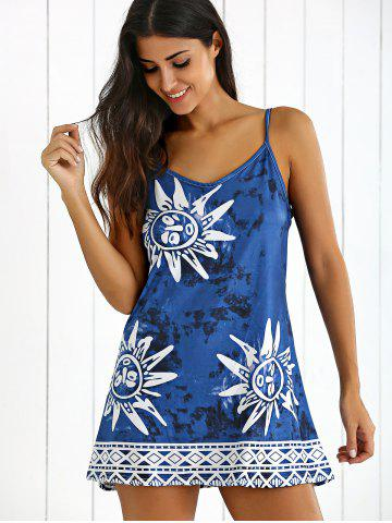 Affordable Tribal Print Tie-Dyed Summer Dress - L CADETBLUE Mobile