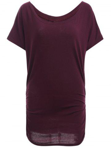 New Boat Neck Dolman Sleeve Ruched T-Shirt