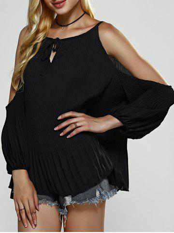 Online Drawstring Cold Shoulder Pleated Loose Blouse