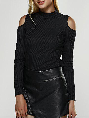 Latest Cold Shoulder Long Sleeve Stretchy Blouse