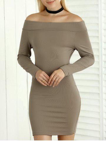 Latest Long Sleeve Bodycon Off The Shoulder Dress KHAKI XL