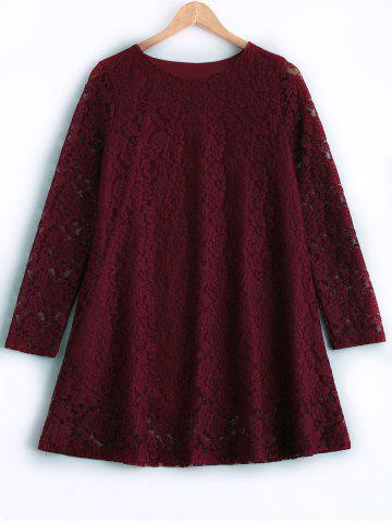 Plus Size Long Sleeve Lace Dress - Wine Red - 3xl