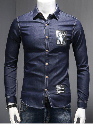 Affordable Turn-Down Collar Letters and Figure Print Long Sleeve Chambray Shirt DEEP BLUE 2XL