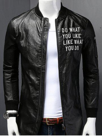 Stand Collar Letter Print PU-Leather Long Sleeve Jacket