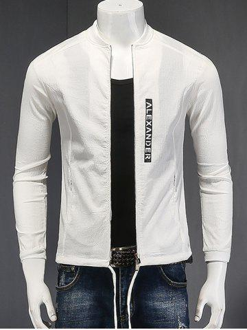 Discount Stand Collar Zipper-Up Letter Printed Cotton Linen Jacket WHITE L