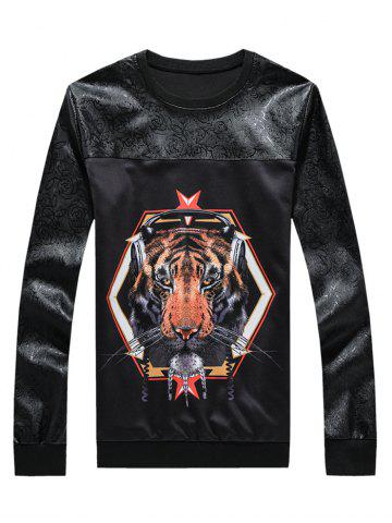 Outfits 3D Tiger Print Spliced Round Neck Long Sleeve Sweatshirt BLACK 5XL