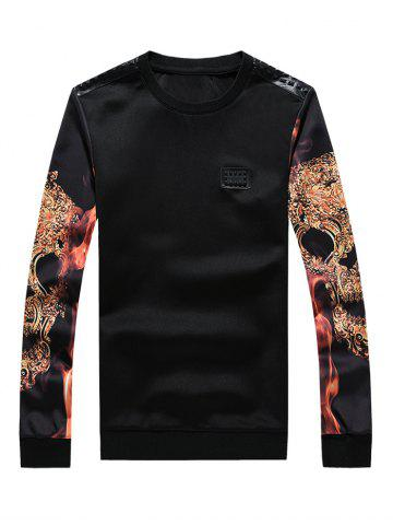 Affordable 3D Print Faux Leather Spliced Crew Neck Long Sleeve Sweatshirt