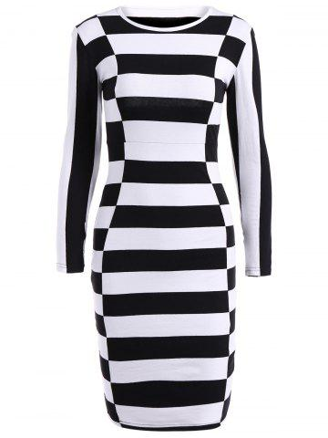 Cheap Long Sleeve Stripe Sheath Dress