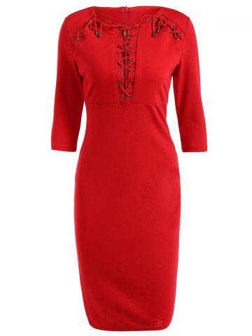 Store Lace-Up Pencil Dress RED 3XL