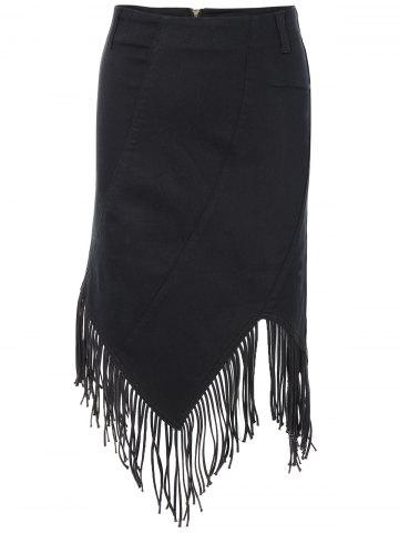 Hot Chic High Waist Fringed Asymmetric Women's Skirt