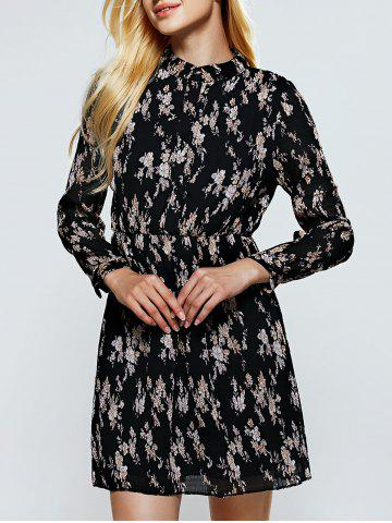 Affordable Long Sleeve Floral Mini Dress