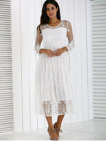 Chic Guipure Mesh Party Laciness Dress - L WHITE Mobile
