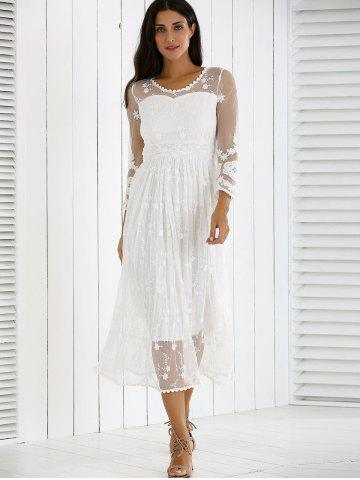 Store Guipure Mesh Party Laciness Dress - L WHITE Mobile
