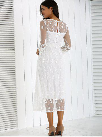 Hot Guipure Mesh Party Laciness Dress - L WHITE Mobile