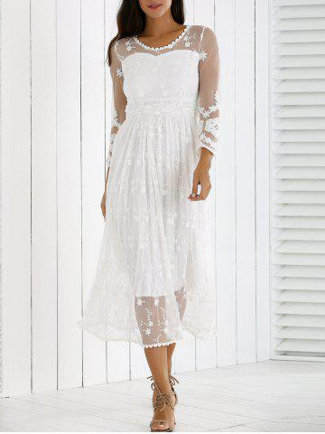 Outfit Guipure Mesh Party Laciness Dress - L WHITE Mobile