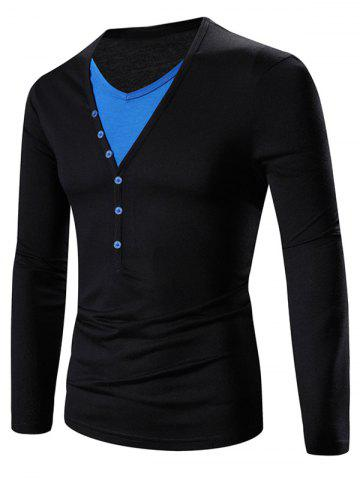 Fancy Faux Twinset V-Neck Color Block Splicing Design Long Sleeve T-Shirt BLUE AND BLACK M