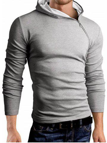 Unique Hooded Oblique Zipper Design Long Sleeve T-Shirt