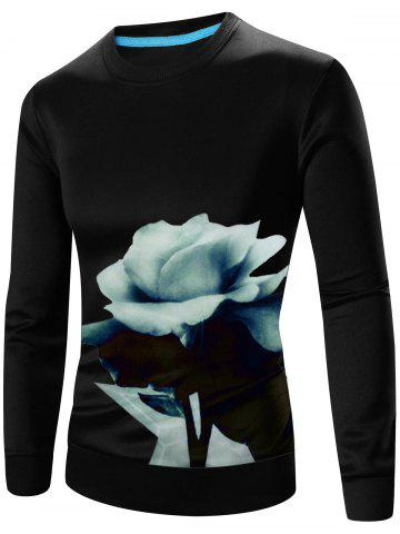 Floral 3D Print Crew Long Neck Sweatshirt manches Noir 3XL