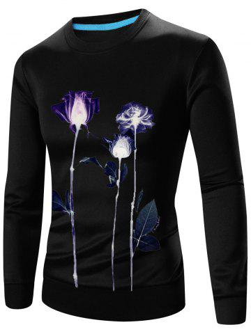 Outfits Crew Neck Long Sleeve 3D Floral Print Sweatshirt