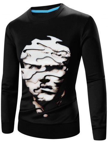 Chic Crew Neck Long Sleeve Abstract 3D Face Print Sweatshirt