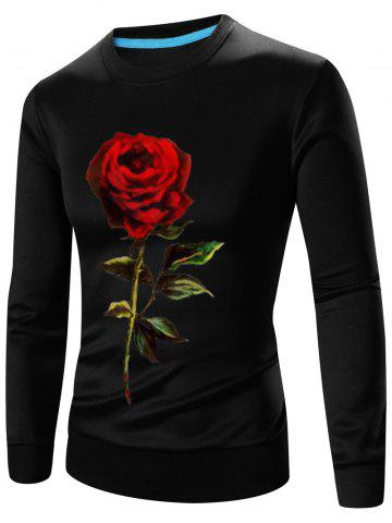 Latest 3D Rose Print Crew Neck Long Sleeve Sweatshirt